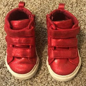 red sparkly high top sneakers size 6